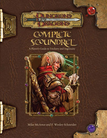 "The cover of a supplemental Dungeons and Dragons book, titled ""Complete Scoundrel"". The cover's central image is of a fair skinned, shaggy haired man with pointed ears, leather armor, and a sword, who is looking over his shoulder and holding a handful of playing cards."