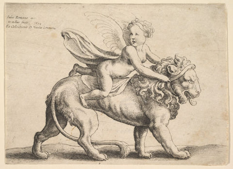 A photo of an old engraving of a cupid sitting on a lion
