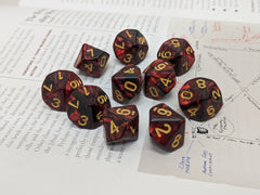Photo of D20collective's Blood Onyx 10d10 dice set