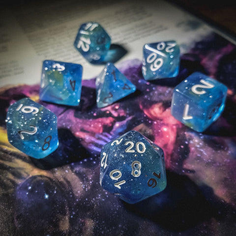 A photo of D20collective's Midnight Horizon dice set