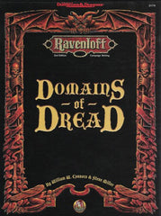 The cover of the Ravenloft book Domains of Dread, a black cover with red detailing and yellow gothic lettering with the book title.