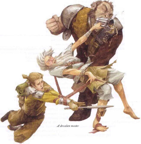 An illustration of an older, apparently drunken man fighting two others. The older man is stumbling backwards, seemingly accidentally hitting a larger man in the face with a tankard, while the sword of a smaller man is tangled in the strap of his bag.