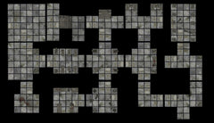 A photo of a dungeon made by placing dungeon tiles connected to each other. There are several different squares and rectangles in grey, with smaller square grids overlaid on top