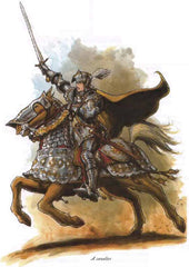 A drawing of a Human Cavalier, a knight on horseback, from the 3e prestige class Cavalier. The knight and the horse are in heavy armor, positioned as though they are charging into battle.