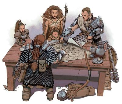 A scan of a piece of art from the 3e player's handbook. It features an adventuring party, including a dwarf, an elf, a halfling, and a human gathered around a table strewn with maps, all in various types of medieval armor.