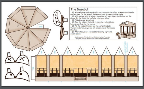 "A downloadable file on the Steve Jackson Games Munchkin website - the file is a papercraft gazebo with angry eyes and teeth, which can be cut out and folded to make it three dimensional. This is a reference to the ""dread gazebo"" rpg tale."