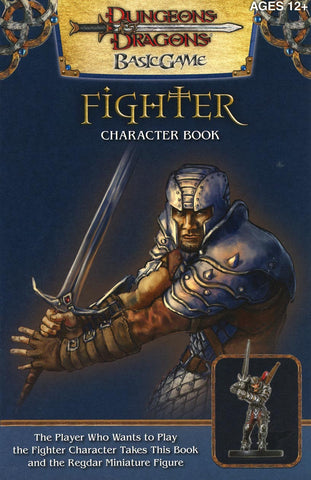 A scan of an add for a human fighter miniature fashioned after Redgar the human fighter. It features a painting of the character, with a smaller photo of the miniature underneath it.