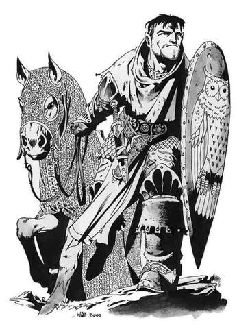A black and white drawing of a human knight in front of a horse. Both the knight and the horse are draped in chainmaille, and the knight is carrying both a sword and shield.