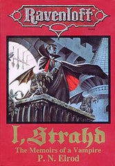 The cover of the novel I, Strahd. It features a traditional looking vampire perched by a gargoyle on a stone castle