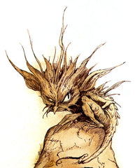 A drawing of a small, scraggly fae creature, apparently a joint eater