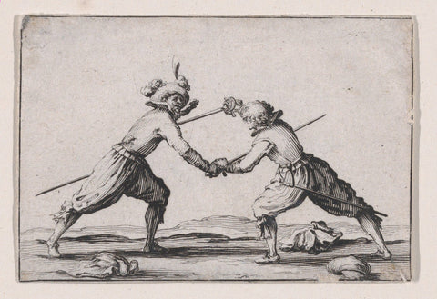 An image of an engraving of two men dueling with swords