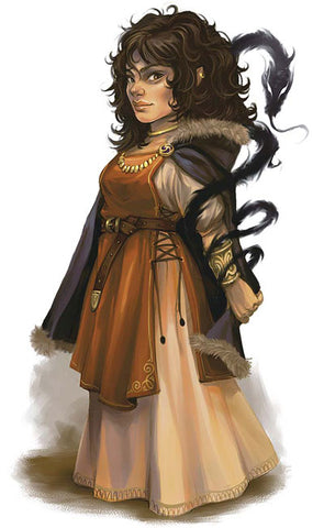 An illustration of a small woman with curly black hair, wearing a brown dress and apron. A shadowy black dragon curls up her arm and behind her head.