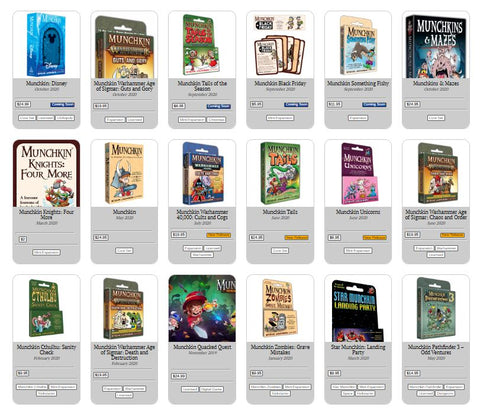 a screenshot of the Steve Jackson Games website for Munchkin, showing a number of expansions and variants for the Munchkin game as a whole.
