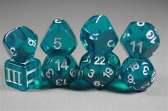 A photo of several odd-sided dice. They are teal and translucent against a grey background, with white numbering