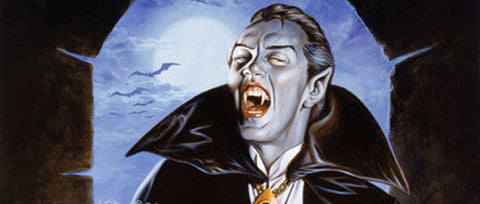 An illustration of a traditional looking vampire with white skin, black slick-backed hair, and a black cloak and fangs, stood in front of an arched stone window.