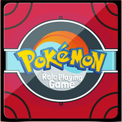 """An image of the digital cover of the """"Pokemon Roleplaying Game"""". It features a stylized pokeball on a red background, with circular detailing around the edges of thee image. The Pokemon logo is placed in the middle of the image."""