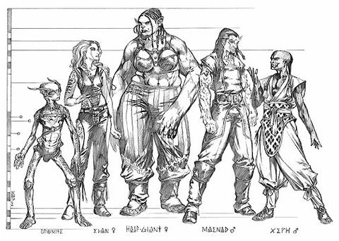 An illustration of five psionically inclined races: Dromites, Evans, Half-Giants, Maenads, and Xeph. All are in pencil, and height markings compare their relative heights.