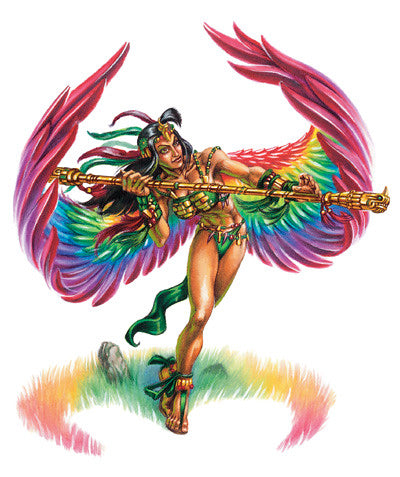 An illustration of a tanned woman in Aztec clothing with large, rainbow wings. She is swinging a sword, and at her feet is a semicircle of colorful grass.