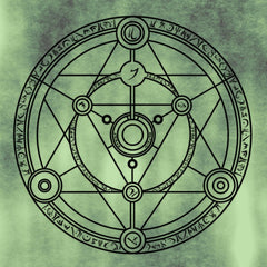 An image of a magic circle - a series of intersecting lines and circles with runes written around the edges