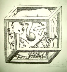 A pencil drawing representing Schrodinger's Cat. It shows two cats, one alive and furry and one skeletal, on opposite sides of a ball. Surrounding the two cats is an optical illusion cube.