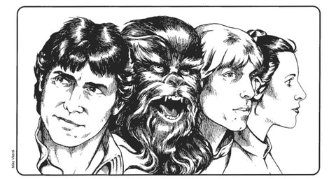An Illustration from the West End Games' Star Wars RPG Second Edition Rulebook. It features a black and white lineart drawing of Han Solo, Chewbacca, Luke Skywalker, and Princess Leia.