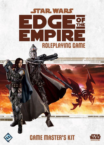 """A scan of the cover for Fantasy Flight Games' Star Wars Roleplaying Game """"Edge of Empire"""". It features 2 Mandalorian bounty hunters standing together in front of a  desert background, set on a white cover. The title reads """"Edge of Empire""""."""