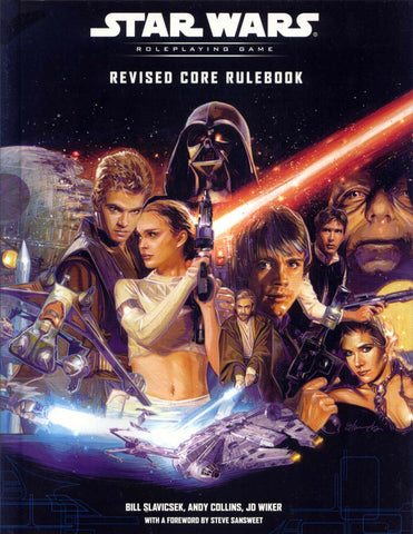 A scan of the Wizards of the Coast's Star Wars Roleplaying Game Revised Rulebook. It features, Anakin, Amidala, Vader, Luke, Leia, Han, Obi Wan, and Jabba the Hut against a black background