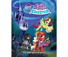 """An image of the cover of the """"Tales of Equestria"""" game. it features three cartoon ponies in the My Little Pony artstyle, on in a cloak with a staff, one in armor and a sword, and one flying while holding a scroll. They appear to be leaving a castle and entering a forest."""