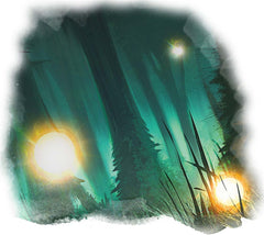 A drawing of several lights, will o wisps, against a green forest. They are glowing yellow