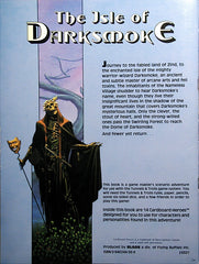 The back cover of the Isle of Darksmoke module book. It depicts a skeletal wizard, holding a staff with a mask, and a paragraph summary of the oneshot.