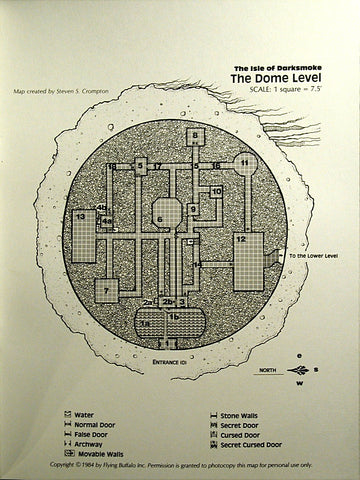 "A map from the module ""Isle of Darksmoke"". The map depicts a round dungeon with may numbered rooms and hallways, with a key for different types of shading below the main image."
