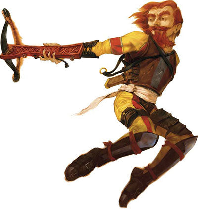 An illustration of a red haired man leaping to the right, his legs curled behind him mid-air. He wears yellow clothing underneath a leather breastplate and shin-guards, and points a crossbow to the left.