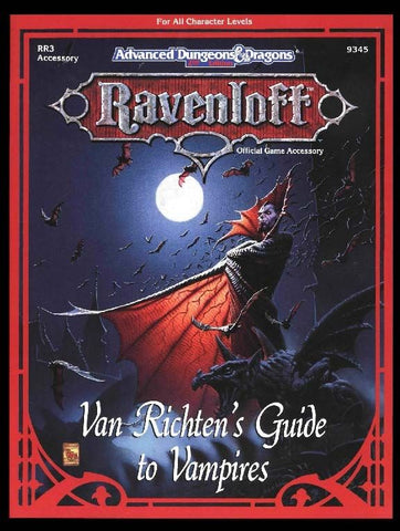 The cover of the DnD book Van Richten's Guide to Vampires. It depicts a traditional looking vampires standing in front of a full moon, with the title below in a spider-like font.