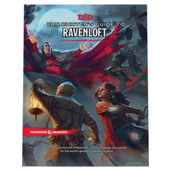 A photo of the cover of Van Richten's Guide to Ravenloft. It depicts a woman in a red coat and a man holding a lantern fighting with a vampire, who leaps at them with a flapping cloak.