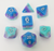 Critical Cryomancy - D20 Collective - Dice - DND Tabletop RPG Dice - 7 Piece Sets, Blue, Dice, dicematerial_Acrylic, Layered, None, Purple, Resin, Silver Numbers, Solid, Standard