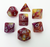 Astral Apocalypse - D20 Collective - Dice - DND Tabletop RPG Dice - 7 Piece Sets, Acrylic, Dice, Dice and Tokens, dicecolor_Purple, dicecolor_Red, dicecolor_Yellow, diceluminescence_Shimmering, diceluminescencel_Shimmering, dicematerial_Acrylic, dicenumber color_Silver, dicenumbercolor_Silver, diceopacity_Solid, dicepattern_Marbled, dicesize_Standard, Gaming Dice, Halloween, Marbled, Purple, Red, Shimmering, Silver, Solid, Spooky Dice, Standard, under10, Yellow