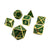 Druidic Sparkle - 7 Piece Gold and Green Metal Dice Set