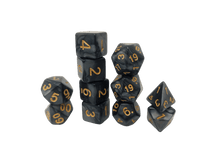 Black Granite Black 7 Piece DND Dice Set by D20 Collective Dice for Table Top RPG and Gaming