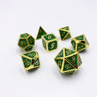 Druidic Sparkle - 7 Piece Gold and Green Metal Dice Set-DnD-Metal Dice-Dungeons and Dragons-D20 Collective
