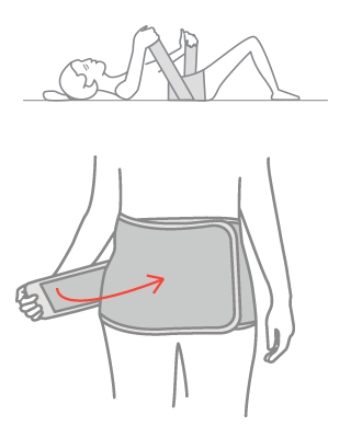 2.Align the bottom edge to the lowest point of the pelvis and fasten the velcro.