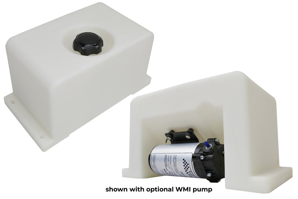 Water Methanol Injection Tanks. Universal 2 Gallon Trunk Mount Tank with pump mount