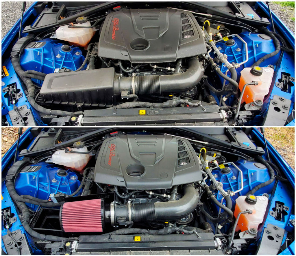 Burger Motorsports Alfa Romeo 2.0L intake with inverted cone air filter
