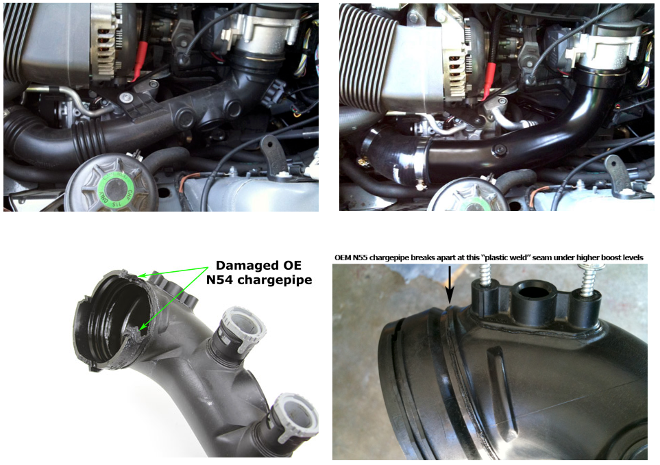 Stock vs. BMS N55 E Chassis Chargepipe