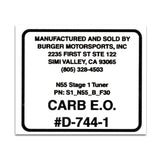 Replacement CARB Sticker - Burger Motorsports