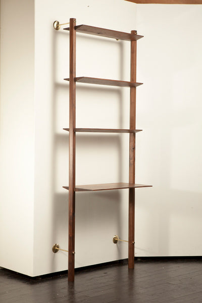 lonewa modern walnut shelf shelving unit desk with brass hardware