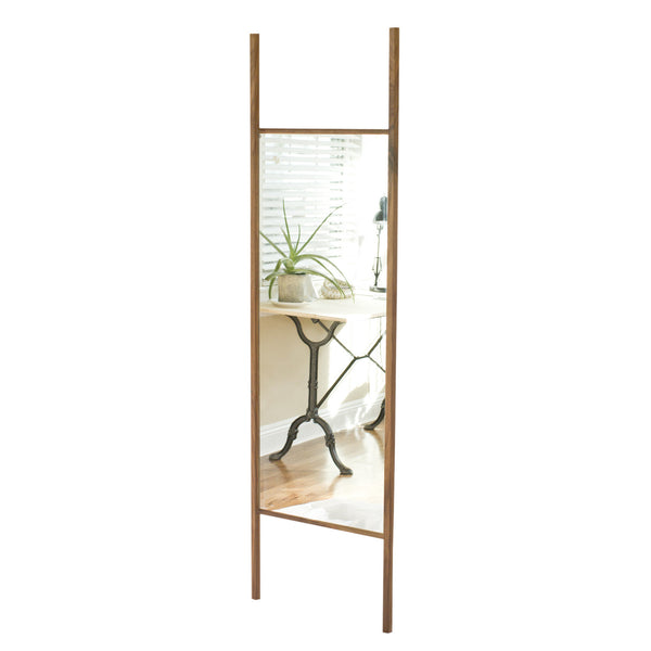 lonewa modern floor mirror walnut