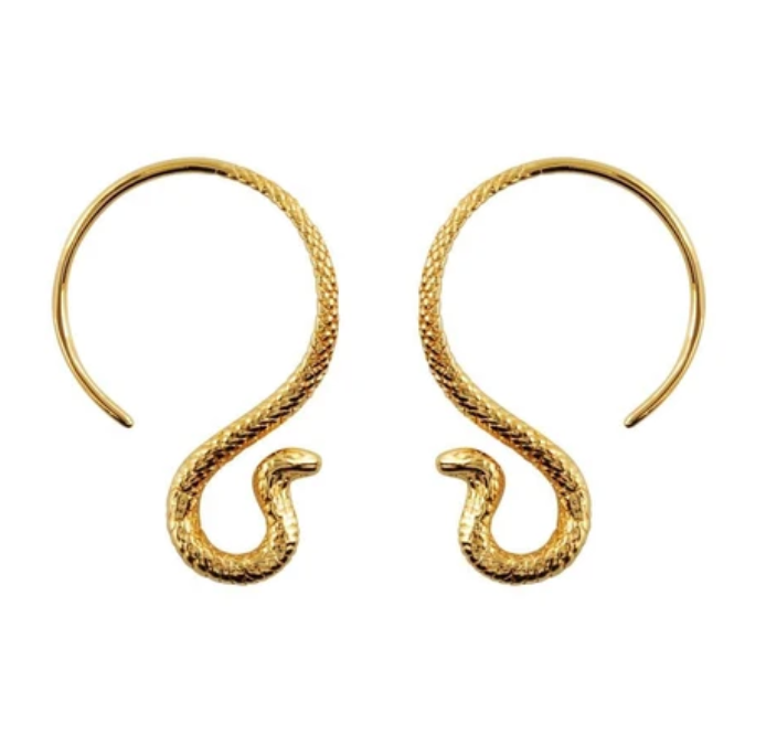 Gold Cobra Hoop Earrings