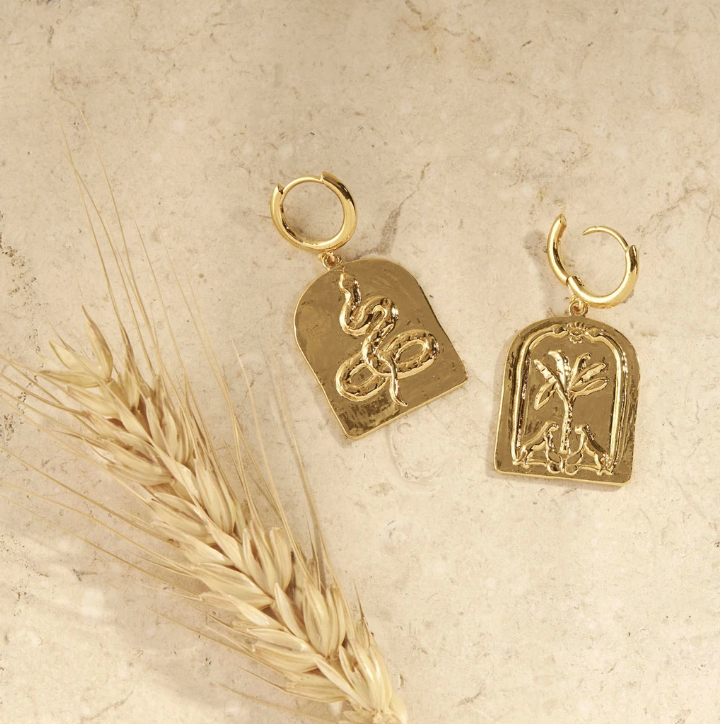 Gold Face Yourself Or Run Earrings