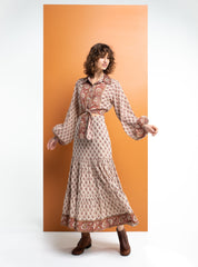 Super flattering and long in length is the block printed stevie skirt by boom shankar.