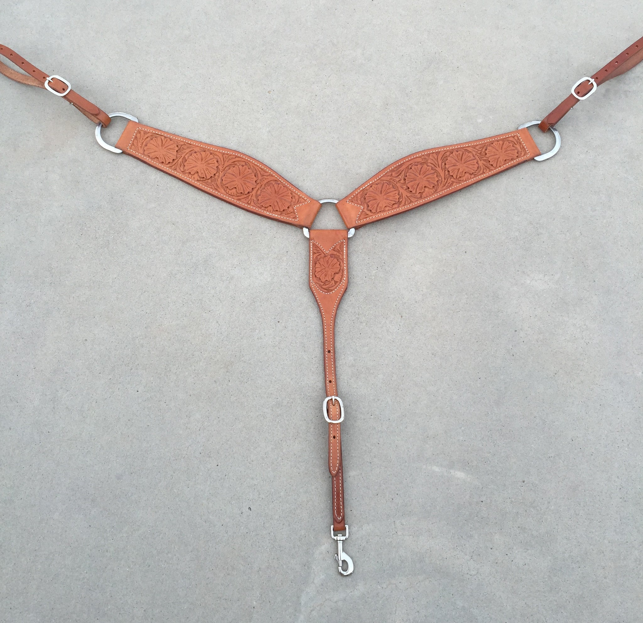 3-Piece Roping Breast Collar Wild Rose Tooling - The Sale Barn - 1